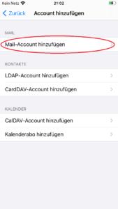 iOS Account hinzufügen