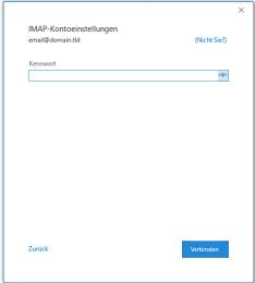 Outlook 2019 Passwort eingeben